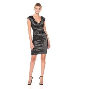 Nicole Miller Beckett Techo Metal V-Neck Dress